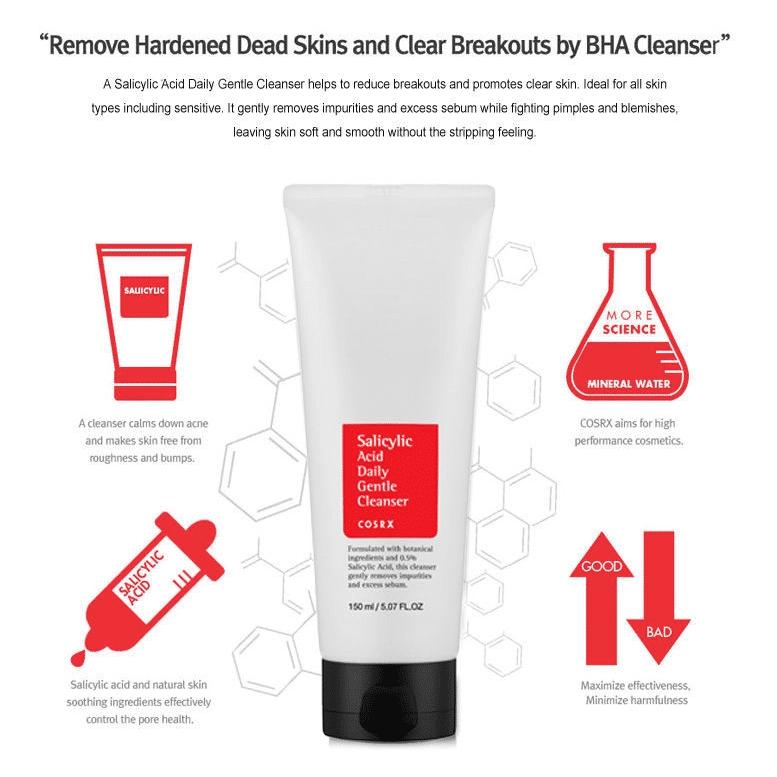 Cosrx – Salicylic Acid Daily Gentle Cleanser k beauty